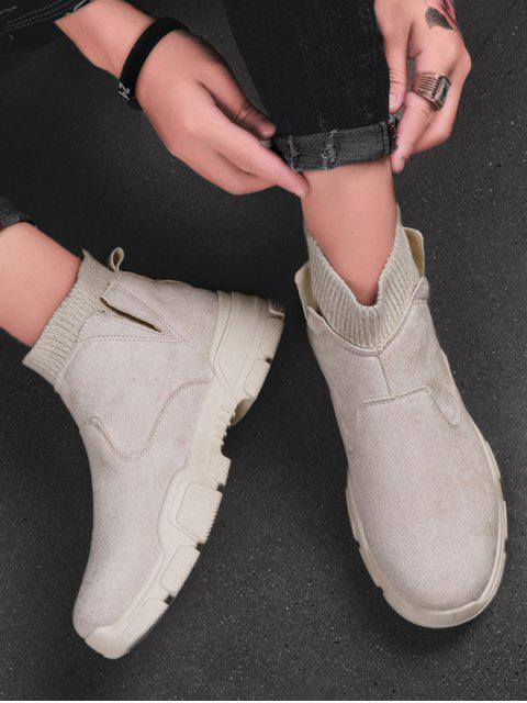 fashion Slip On Brushed Patch Sock Boots - BEIGE EU 43 Mobile