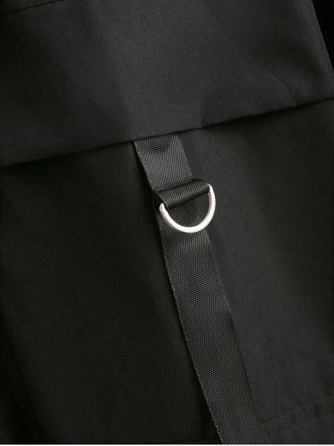 lady Solid Color Pocket Decorated Hooded Jacket - BLACK M Mobile