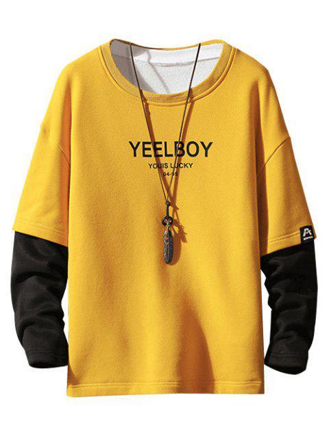 El bloqueo de color de impresión de la letra de imitación Twinset Fleece con capucha - Amarillo L Mobile