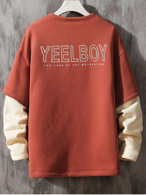 El bloqueo de color de impresión de la letra de imitación Twinset Fleece con capucha - Castaño Rojo 2XL Mobile