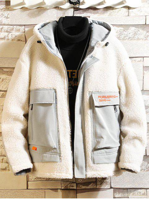 shop Letter Embroidery Colorblock Spliced Faux Fur Fuzzy Hood Jacket - WHITE M Mobile