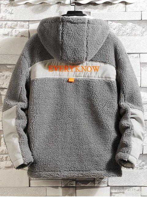 sale Letter Embroidery Colorblock Spliced Faux Fur Fuzzy Hood Jacket - GRAY M Mobile