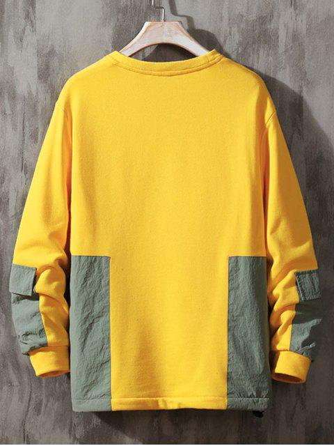 Colorblock empalmado Parche de cuello redondo con capucha - Amarillo L Mobile