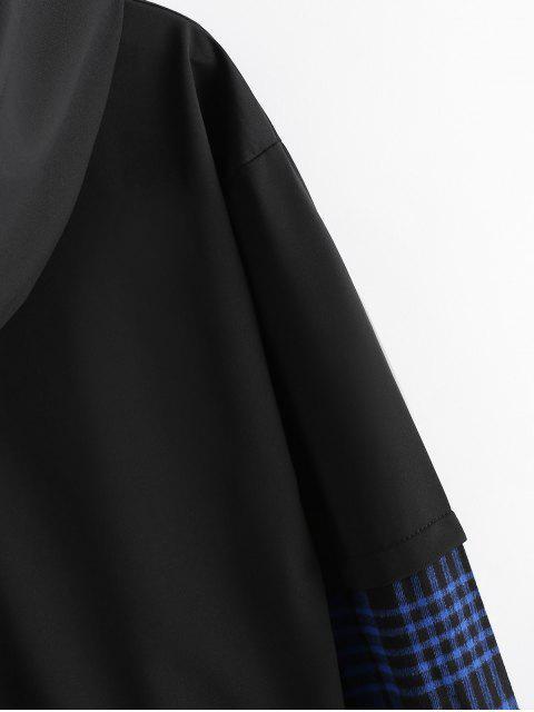 Carta bordado tela escocesa empalmado Faux Twinset con capucha - Azul M Mobile