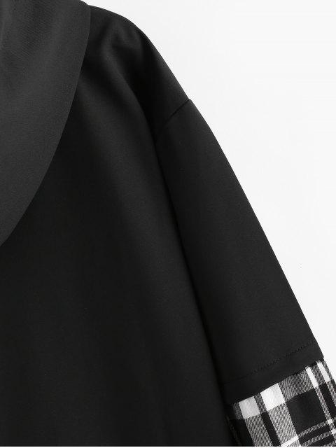 Carta bordado tela escocesa empalmado Faux Twinset con capucha - Blanco M Mobile