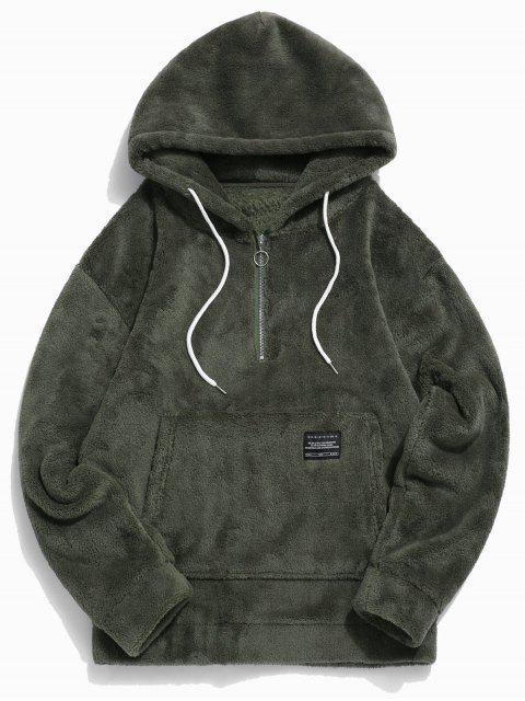 Applique del color sólido de la piel de imitación La mitad de la cremallera con capucha con cordón - Ejercito Verde 2XL Mobile