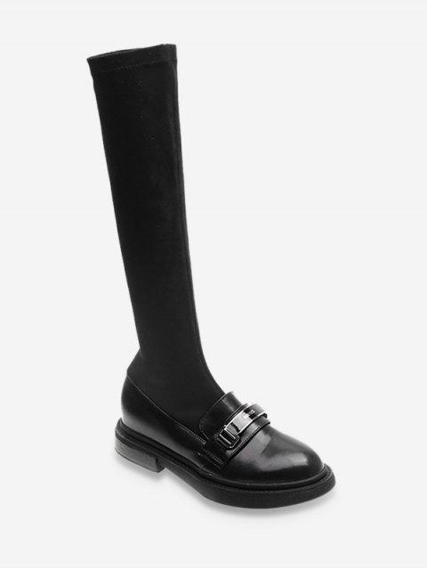 latest Metal Detail Patch Sock Knee High Boots - BLACK EU 37 Mobile