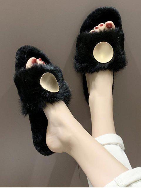 best Open Toe Round Metal Fuzzy Flat Shoes - BLACK EU 37 Mobile