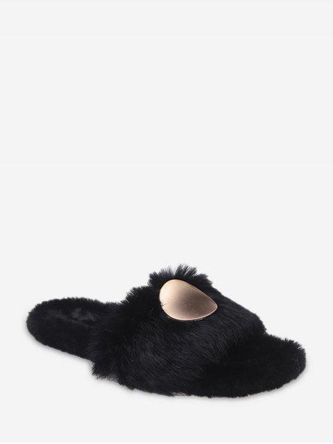 best Open Toe Round Metal Fuzzy Flat Shoes - BLACK EU 40 Mobile