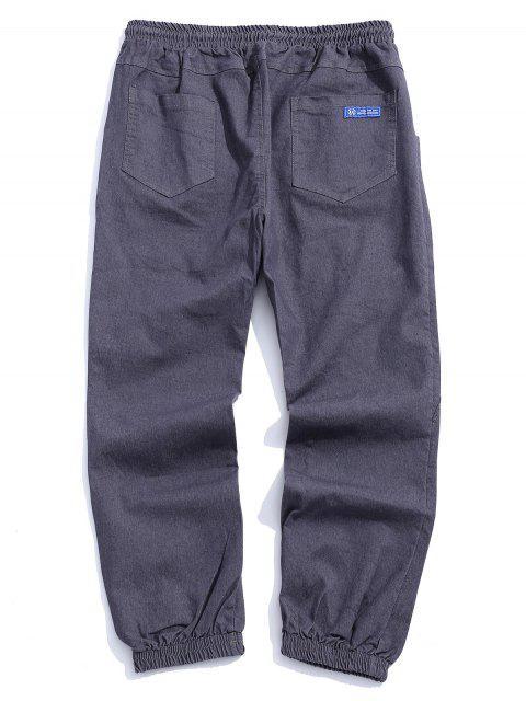 信件模式抽繩口袋設計褲 - 灰色 S Mobile