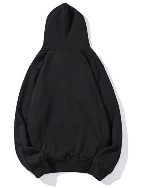 Gato boxeo de impresión de letras gota hombro con capucha básica - Negro M Mobile