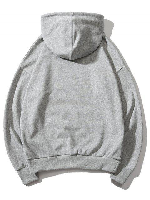 Gato boxeo de impresión de letras gota hombro con capucha básica - Gris XL Mobile
