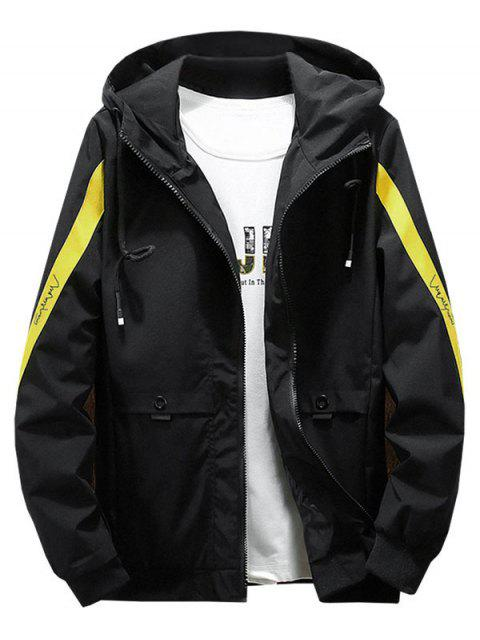 women Color Blocking Spliced Letter Print Hood Jacket - YELLOW L Mobile