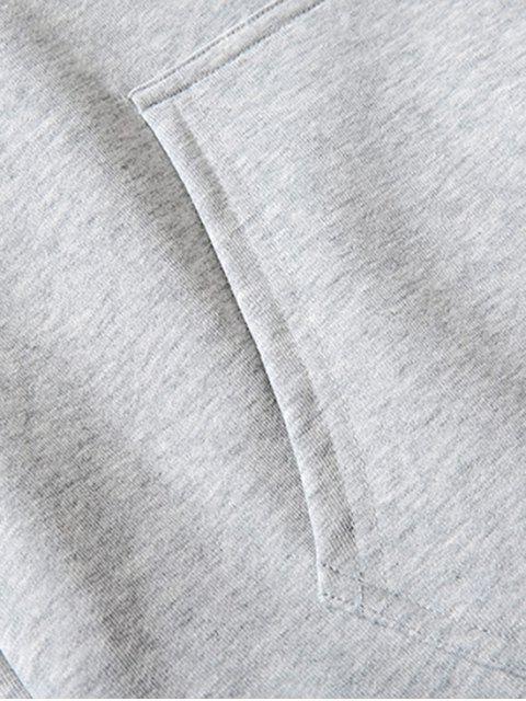 Impresión del perro básico gota del lazo de hombro con capucha - Gris M Mobile