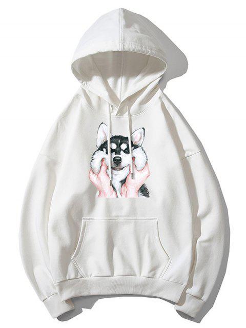 Impresión del perro básico gota del lazo de hombro con capucha - Blanco XL Mobile