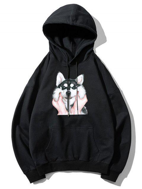 Impresión del perro básico gota del lazo de hombro con capucha - Negro L Mobile