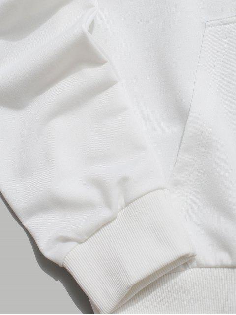ZAFUL Tigre y sudadera con bolsillo canguro bordado Carta - Blanco L Mobile