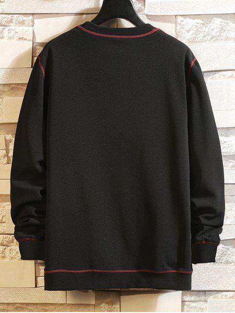 outfit Letter Graphic Print Contrast Stitching Sweatshirt - BLACK 2XL Mobile