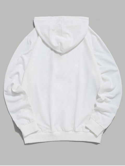 ZAFUL Tigre y sudadera con bolsillo canguro bordado Carta - Blanco 2XL Mobile