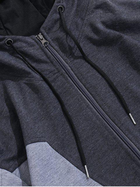 Color de empalmado Zip Up Casual con capucha - Gris Oscuro S Mobile