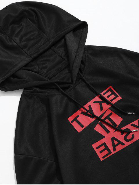 Contraste de impresión de letras con cordón informal con capucha - Negro L Mobile