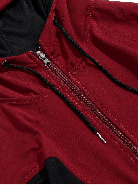 Color de empalmado Zip Up Casual con capucha - Rojo M Mobile