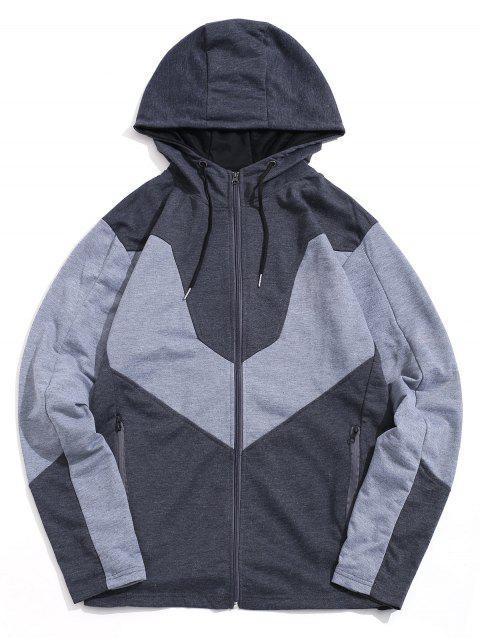Color de empalmado Zip Up Casual con capucha - Gris Oscuro L Mobile