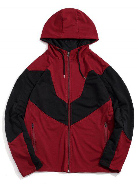 Color de empalmado Zip Up Casual con capucha - Rojo L Mobile
