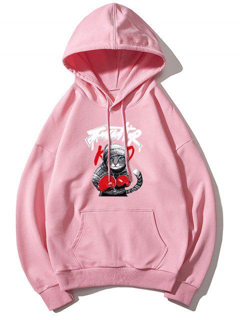 Gato boxeo de impresión de letras gota hombro con capucha básica - Rosado L Mobile