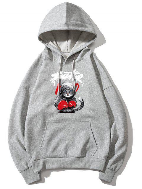 Gato boxeo de impresión de letras gota hombro con capucha básica - Gris L Mobile
