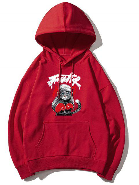 Gato boxeo de impresión de letras gota hombro con capucha básica - Rojo 2XL Mobile