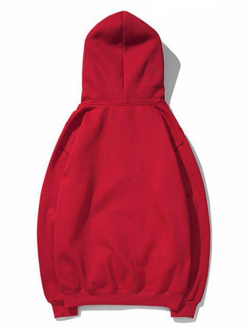 Impresión del perro básico gota del lazo de hombro con capucha - Rojo 3XL Mobile
