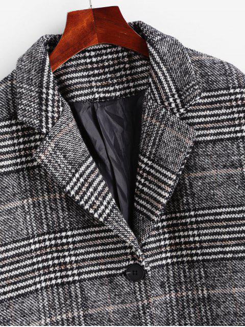 shop Houndstooth Drop Shoulder Pocket Longline Coat - DARK GRAY XL Mobile