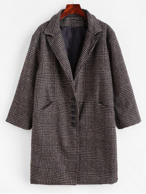 outfit Tweed Lapel Pocket Longline Coat - DEEP COFFEE L Mobile