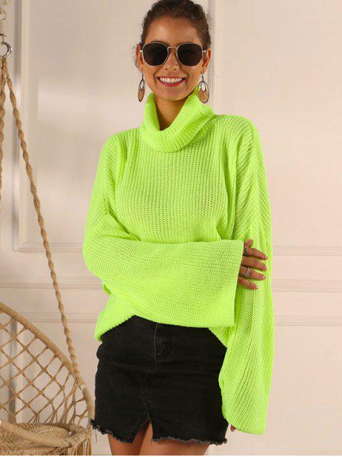 shop Overlap Back Turtleneck Neon Sweater - GREEN M Mobile