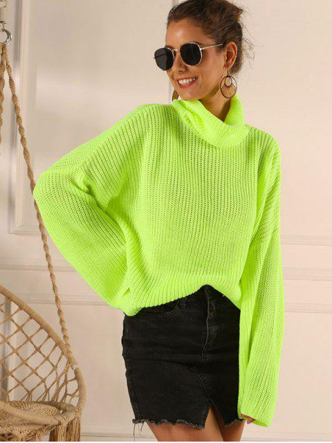 latest Overlap Back Turtleneck Neon Sweater - GREEN L Mobile