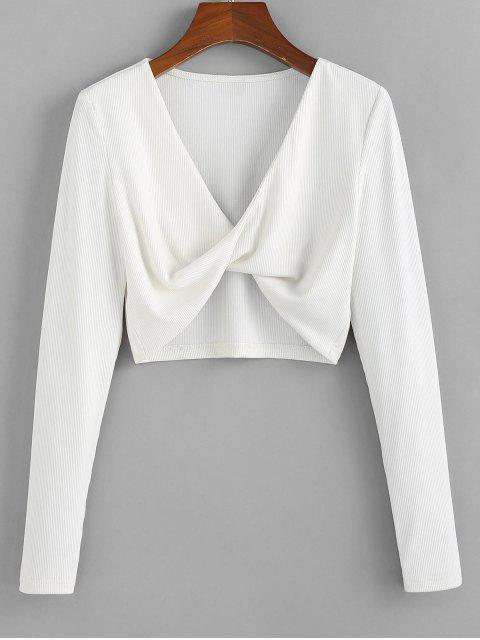womens ZAFUL Cropped Front Twist T Shirt - MILK WHITE S Mobile