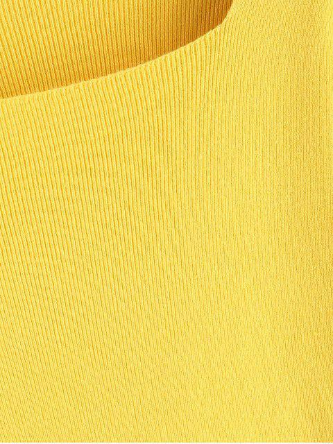 方領修身針織毛衫 - 黃色 One Size Mobile