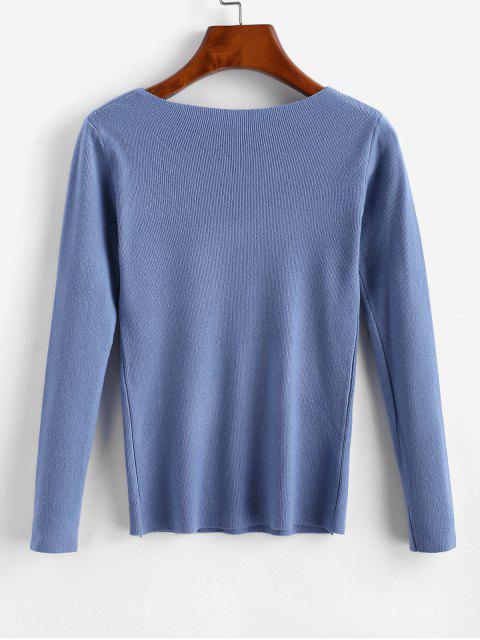 方領修身針織毛衫 - 藍灰色 One Size Mobile