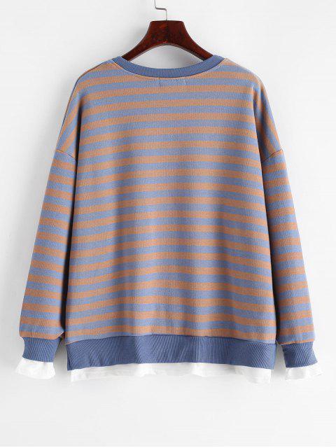 條紋落肩縫運動衫 - 多 L Mobile