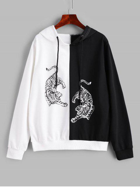 buy ZAFUL Tiger Print Two Tone Drawstring Hoodie - MULTI-A XL Mobile