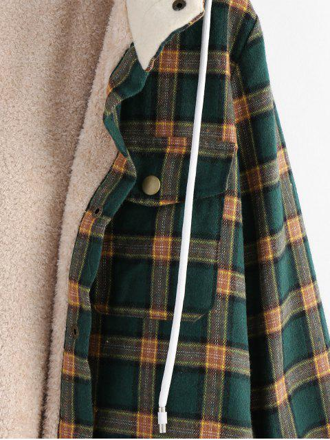 ladies ZAFUL Plaid Hooded Fluffy Lined Snap Button Jacket - MULTI M Mobile