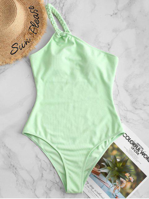 ZAFUL紋理編織單肩連體泳衣 - 綠色 M Mobile