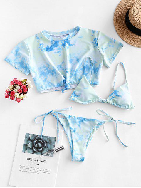 ZAFUL Maillot de Bain Bikini Teinté à Cordon avec T-shirt Noué - Multi-A L Mobile