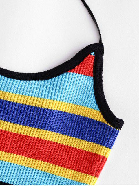 women's ZAFUL Halter Knitted Colorful Stripes Crop Top - MULTI-A L Mobile