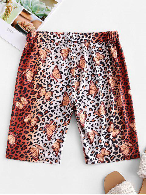 outfit Leopard Butterfly High Waisted Biker Shorts - LEOPARD M Mobile