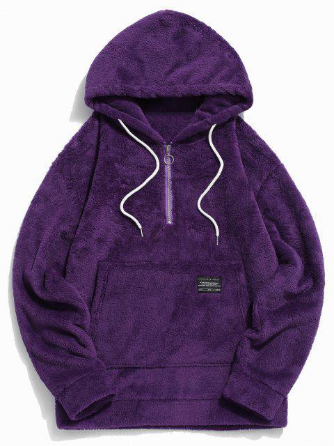 affordable Applique Solid Color Faux Fur Half Zipper Drawstring Hoodie - PURPLE 2XL Mobile