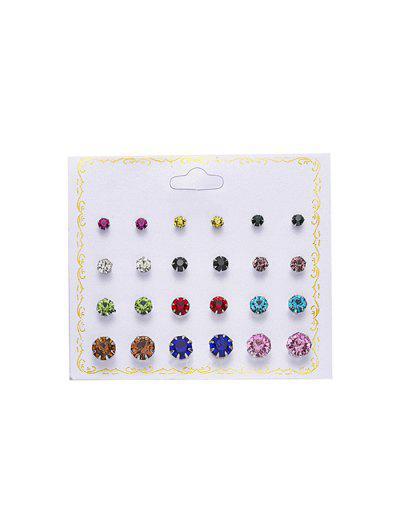 12Pairs Rhinestone Stud Earrings Set