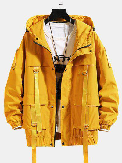 Solid Color Pocket Decorated Hooded Jacket - Yellow L