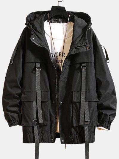 Solid Color Pocket Decorated Hooded Jacket - Black 3xl